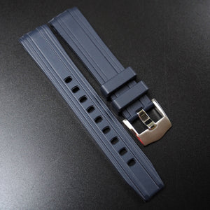 Navy Blue Premium Rubber Watch Strap w/ Curved Ends For Omega Seamaster - Strapholic_錶帶工房, Rolex, IWC, Panerai, AP, Cartier, Tudor, Omega, Watch_Bands