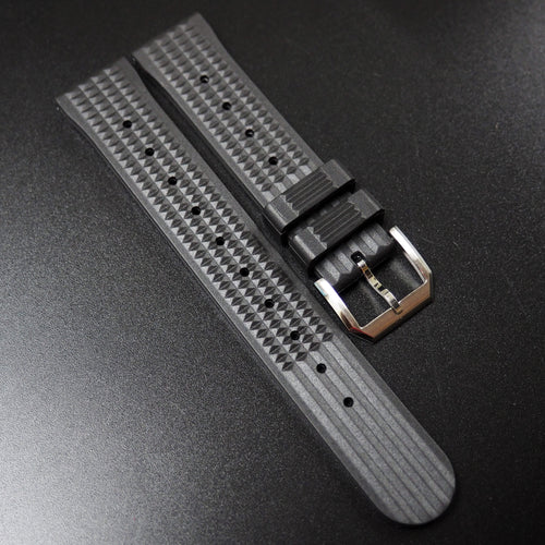 Seiko Style Premium Black Rubber Watch Strap - Strapholic_錶帶工房, Rolex, IWC, Panerai, AP, Cartier, Tudor, Omega, Watch_Bands