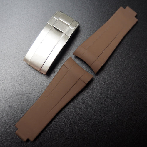 Brown Vulcanized Rubber Watch Strap With Curved Ends & Clasp For Rolex Sport Models - Strapholic_錶帶工房, Rolex, IWC, Panerai, AP, Cartier, Tudor, Omega, Watch_Bands