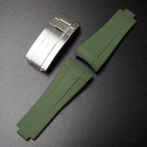 Fern Green Vulcanized Rubber Watch Strap With Curved Ends & Clasp For Rolex Sport Models - Strapholic_錶帶工房, Rolex, IWC, Panerai, AP, Cartier, Tudor, Omega, Watch_Bands