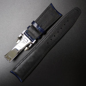 IWC Style Blue Alligator-Embossed Calf Leather Watch Strap w/ Deployment Clasp - Strapholic_錶帶工房, Rolex, IWC, Panerai, AP, Cartier, Tudor, Omega, Watch_Bands