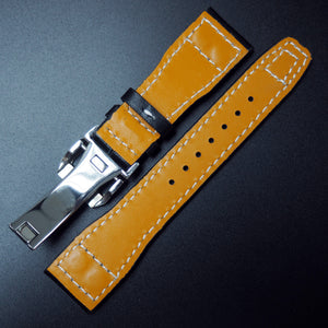 IWC Aviation Style Black Calf Leather Watch Strap w/ Deployment Clasp