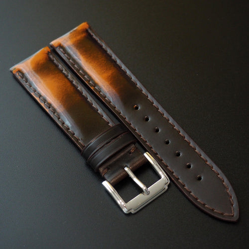 Orange / Black Cordovan Leather Watch Strap - Strapconcept_錶帶工房, Rolex_Leather, IWC_Strap, Panerai_Strap, AP_Rubber, Cartier_Leather, Tudor_Nato, Omega_Rubber, Watch_Straps