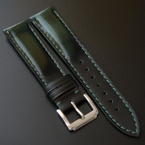 Green / Black Cordovan Leather Watch Strap - Strapconcept_錶帶工房, Rolex_Leather, IWC_Strap, Panerai_Strap, AP_Rubber, Cartier_Leather, Tudor_Nato, Omega_Rubber, Watch_Straps