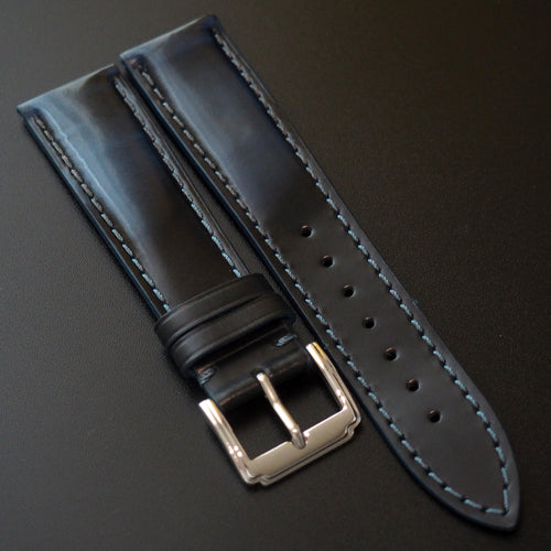 Blue / Black Cordovan Leather Watch Strap - Strapconcept_錶帶工房, Rolex_Leather, IWC_Strap, Panerai_Strap, AP_Rubber, Cartier_Leather, Tudor_Nato, Omega_Rubber, Watch_Straps