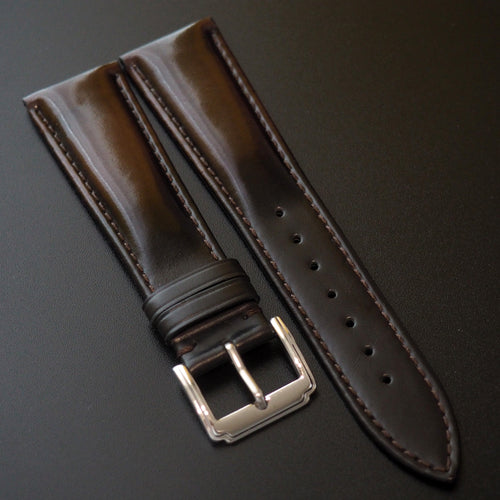 Brown / Black Cordovan Leather Watch Strap - Strapconcept_錶帶工房, Rolex_Leather, IWC_Strap, Panerai_Strap, AP_Rubber, Cartier_Leather, Tudor_Nato, Omega_Rubber, Watch_Straps