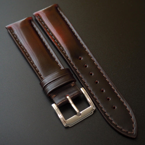 Red / Black Cordovan Leather Watch Strap - Strapconcept_錶帶工房, Rolex_Leather, IWC_Strap, Panerai_Strap, AP_Rubber, Cartier_Leather, Tudor_Nato, Omega_Rubber, Watch_Straps