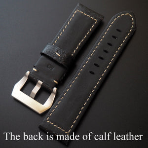 Black Panerai Style Bean-Embossed Calf Leather Watch Strap - Strapholic_錶帶工房, Rolex, IWC, Panerai, AP, Cartier, Tudor, Omega, Watch_Bands