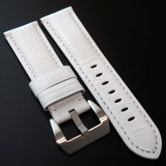 Panerai Style White Alligator-Embossed Calf Leather Watch Strap - Strapholic_錶帶工房, Rolex, IWC, Panerai, AP, Cartier, Tudor, Omega, Watch_Bands