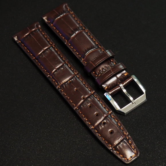 IWC Style Brown Alligator-Embossed Calf Leather Watch Strap - Strapholic_錶帶工房, Rolex, IWC, Panerai, AP, Cartier, Tudor, Omega, Watch_Bands