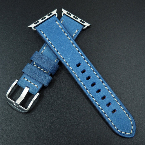 Sapphire Blue Italian Genesis Calf Leather Watch Strap For Apple Watch - Strapconcept_錶帶工房, Rolex_Leather, IWC_Strap, Panerai_Strap, AP_Rubber, Cartier_Leather, Tudor_Nato, Omega_Rubber, Watch_Straps
