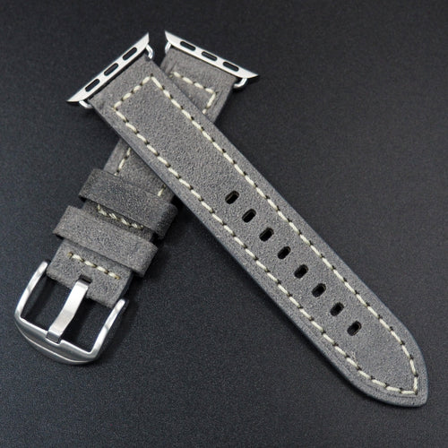 Dark Gray Italian Genesis Calf Leather Watch Strap For Apple Watch - Strapconcept_錶帶工房, Rolex_Leather, IWC_Strap, Panerai_Strap, AP_Rubber, Cartier_Leather, Tudor_Nato, Omega_Rubber, Watch_Straps