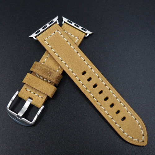 Corn Yellow Italian Genesis Calf Leather Watch Strap For Apple Watch - Strapconcept_錶帶工房, Rolex_Leather, IWC_Strap, Panerai_Strap, AP_Rubber, Cartier_Leather, Tudor_Nato, Omega_Rubber, Watch_Straps
