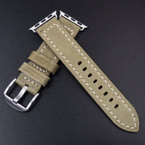 Olive Green Italian Genesis Calf Leather Watch Strap For Apple Watch - Strapconcept_錶帶工房, Rolex_Leather, IWC_Strap, Panerai_Strap, AP_Rubber, Cartier_Leather, Tudor_Nato, Omega_Rubber, Watch_Straps