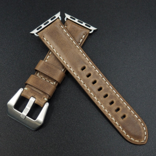 Brown Horween Calf Leather Watch Strap w/ White Stitching For Apple Watch - Strapconcept_錶帶工房, Rolex_Leather, IWC_Strap, Panerai_Strap, AP_Rubber, Cartier_Leather, Tudor_Nato, Omega_Rubber, Watch_Straps