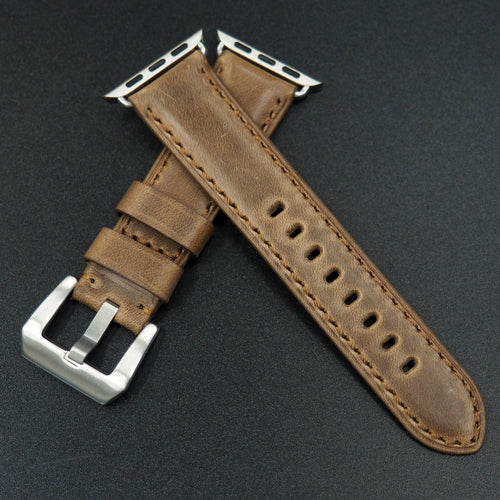 Brown Horween Calf Leather Watch Strap For Apple Watch - Strapconcept_錶帶工房, Rolex_Leather, IWC_Strap, Panerai_Strap, AP_Rubber, Cartier_Leather, Tudor_Nato, Omega_Rubber, Watch_Straps