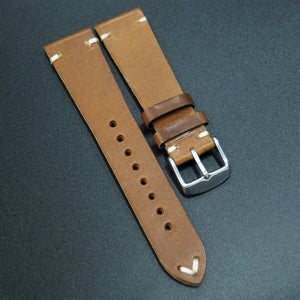 Vintage Style Brown Italian Calf Leather Watch Strap w/ Buckle - Strapholic_錶帶工房, Rolex, IWC, Panerai, AP, Cartier, Tudor, Omega, Watch_Bands