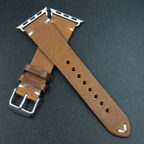 Vintage Style Brown Italian Calf Leather Watch Strap For Apple Watch - Strapconcept_錶帶工房, Rolex_Leather, IWC_Strap, Panerai_Strap, AP_Rubber, Cartier_Leather, Tudor_Nato, Omega_Rubber, Watch_Straps