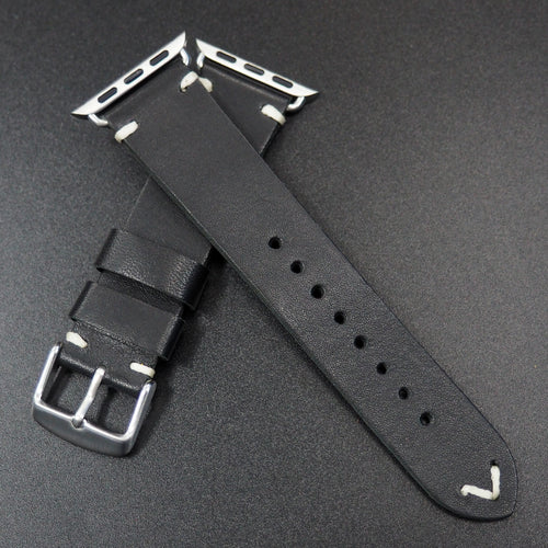 Vintage Style Black Italian Calf Leather Watch Strap For Apple Watch - Strapconcept_錶帶工房, Rolex_Leather, IWC_Strap, Panerai_Strap, AP_Rubber, Cartier_Leather, Tudor_Nato, Omega_Rubber, Watch_Straps