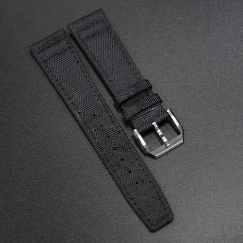 Black IWC Aviation Nylon Watch Strap w/ Tang Buckle - Strapholic_錶帶工房, Rolex, IWC, Panerai, AP, Cartier, Tudor, Omega, Watch_Bands