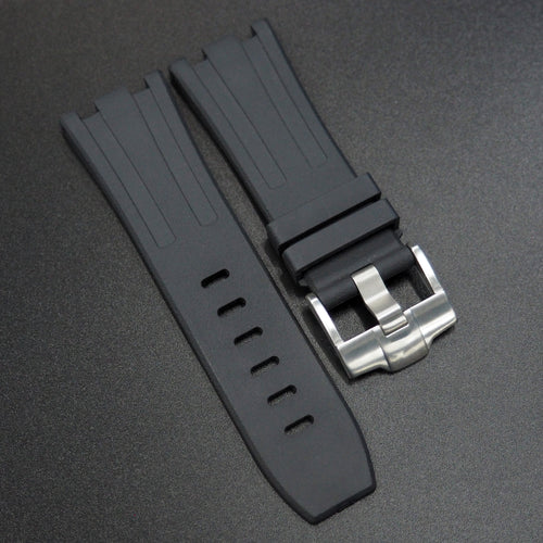 Black Premium Rubber Watch Strap With Buckle For Audemars Piguet Royal Oak Offshore - Strapholic_錶帶工房, Rolex, IWC, Panerai, AP, Cartier, Tudor, Omega, Watch_Bands