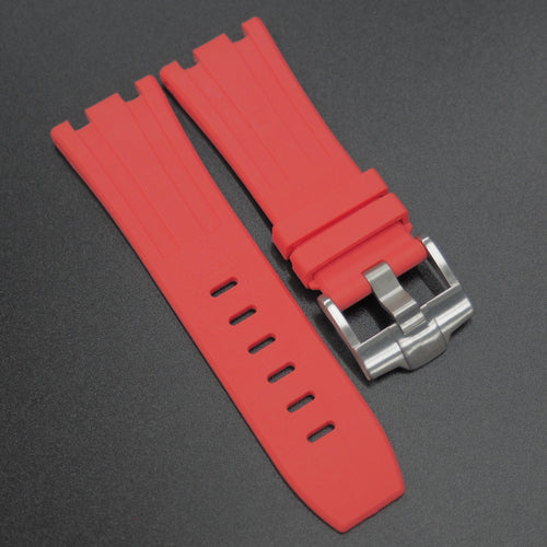 Red Premium Rubber Watch Strap With Buckle For Audemars Piguet Royal Oak Offshore - Strapholic_錶帶工房, Rolex, IWC, Panerai, AP, Cartier, Tudor, Omega, Watch_Bands