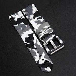 White Camouflage Panerai Style Rubber Watch Strap Replacement - Strapholic_錶帶工房, Rolex, IWC, Panerai, AP, Cartier, Tudor, Omega, Watch_Bands