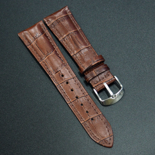 Brown Alligator-Embossed Calf Leather Watch Strap - Strapholic_錶帶工房, Rolex, IWC, Panerai, AP, Cartier, Tudor, Omega, Watch_Bands