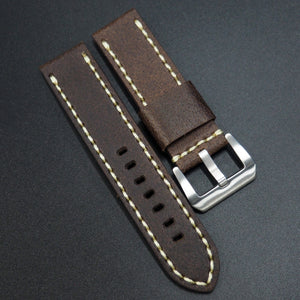 Brown Calf Leather w/ White Stitching Watch Strap w/ Buckle For Panerai - Strapholic_錶帶工房, Rolex, IWC, Panerai, AP, Cartier, Tudor, Omega, Watch_Bands
