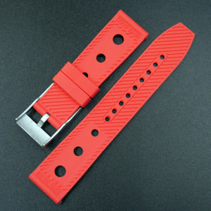 Red Breitling Style Rubber Watch Strap Replacement w/ Buckle - Strapholic_錶帶工房, Rolex, IWC, Panerai, AP, Cartier, Tudor, Omega, Watch_Bands