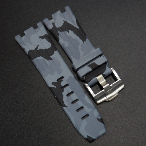 Gray Camouflage Premium Rubber Watch Strap With Buckle For Audemars Piguet Royal Oak Offshore - Strapholic_錶帶工房, Rolex, IWC, Panerai, AP, Cartier, Tudor, Omega, Watch_Bands
