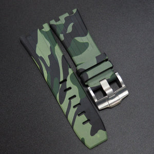 Green Camouflage Premium Rubber Watch Strap With Buckle For Audemars Piguet Royal Oak Offshore - Strapholic_錶帶工房, Rolex, IWC, Panerai, AP, Cartier, Tudor, Omega, Watch_Bands