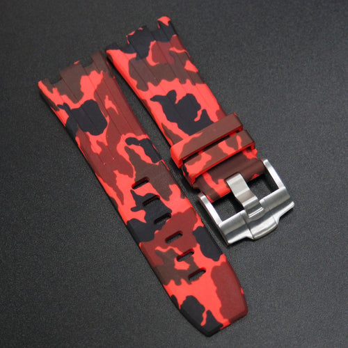 Red Camouflage Premium Rubber Watch Strap With Buckle For Audemars Piguet Royal Oak Offshore - Strapholic_錶帶工房, Rolex, IWC, Panerai, AP, Cartier, Tudor, Omega, Watch_Bands