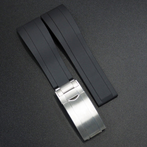 Black Straight End Rubber Watch Strap - Strapconcept_錶帶工房, Rolex_Leather, IWC_Strap, Panerai_Strap, AP_Rubber, Cartier_Leather, Tudor_Nato, Omega_Rubber, Watch_Straps