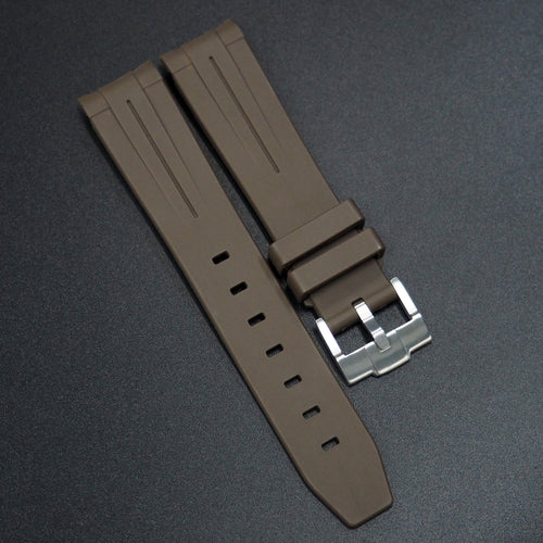 Brown Rubber Watch Strap With Curved Ends For Rolex - Strapholic_錶帶工房, Rolex, IWC, Panerai, AP, Cartier, Tudor, Omega, Watch_Bands