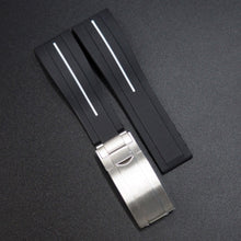 Black w/ White Line Rubber Watch Strap With Clasp For Rolex - Strapholic_錶帶工房, Rolex, IWC, Panerai, AP, Cartier, Tudor, Omega, Watch_Bands