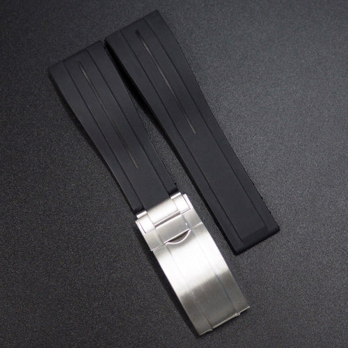 Black Rubber Watch Strap With Clasp For Rolex - Strapholic_錶帶工房, Rolex, IWC, Panerai, AP, Cartier, Tudor, Omega, Watch_Bands