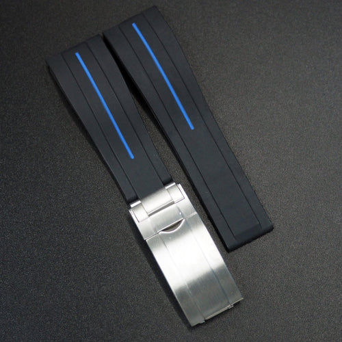 Black w/ Blue Line Rubber Watch Strap With Clasp For Rolex - Strapholic_錶帶工房, Rolex, IWC, Panerai, AP, Cartier, Tudor, Omega, Watch_Bands
