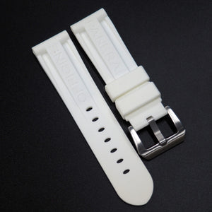 White Panerai Style Rubber Watch Strap Replacement w/ Buckle For Panerai - Strapholic_錶帶工房, Rolex, IWC, Panerai, AP, Cartier, Tudor, Omega, Watch_Bands