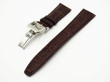 Brown Alligator-Embossed Calf Leather Watch Strap w/ Deployment Clasp For IWC - Strapholic_錶帶工房, Rolex, IWC, Panerai, AP, Cartier, Tudor, Omega, Watch_Bands