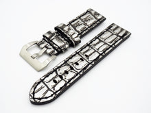 Silver / Black Alligator-Embossed Calf Leather Watch Strap w/ Buckle For Panerai - Strapholic_錶帶工房, Rolex, IWC, Panerai, AP, Cartier, Tudor, Omega, Watch_Bands