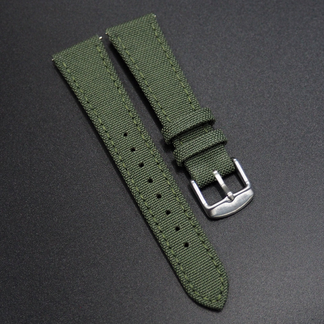Army Green Nylon/Calf Leather Watch Strap - Strapholic_錶帶工房, Rolex, IWC, Panerai, AP, Cartier, Tudor, Omega, Watch_Bands