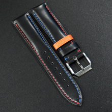 Black Cordovan Leather Watch Strap w/ Blue & Red Stitching - Strapholic_錶帶工房, Rolex, IWC, Panerai, AP, Cartier, Tudor, Omega, Watch_Bands