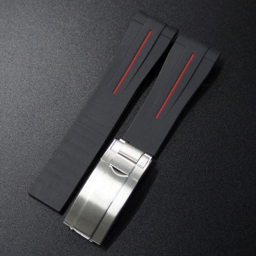 Black w/ Red Line Rubber Watch Strap With Curved Ends - Strapconcept_錶帶工房, Rolex_Leather, IWC_Strap, Panerai_Strap, AP_Rubber, Cartier_Leather, Tudor_Nato, Omega_Rubber, Watch_Straps