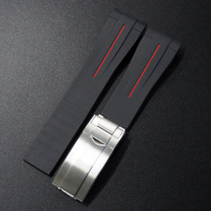 Black w/ Red Line Rubber Watch Strap With Curved Ends & Clasp For Rolex - Strapholic_錶帶工房, Rolex, IWC, Panerai, AP, Cartier, Tudor, Omega, Watch_Bands