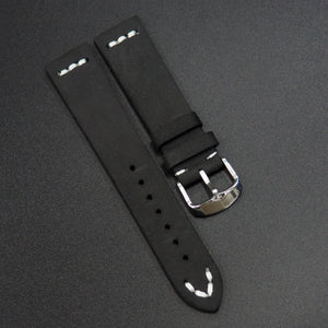 Vintage Style Black Calf Leather Watch Strap w/ Buckle - Strapholic_錶帶工房, Rolex, IWC, Panerai, AP, Cartier, Tudor, Omega, Watch_Bands