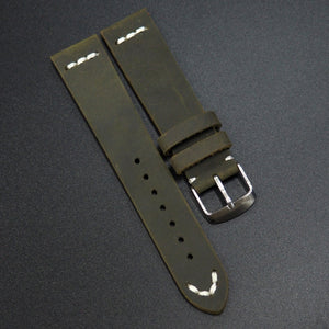 Vintage Style Dark Gray Calf Leather Watch Strap - Strapconcept_錶帶工房, Rolex_Leather, IWC_Strap, Panerai_Strap, AP_Rubber, Cartier_Leather, Tudor_Nato, Omega_Rubber, Watch_Straps
