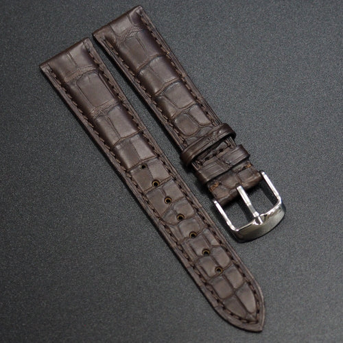 Premium Dark Brown Alligator Leather Watch Strap - Strapconcept_錶帶工房, Rolex_Leather, IWC_Strap, Panerai_Strap, AP_Rubber, Cartier_Leather, Tudor_Nato, Omega_Rubber, Watch_Straps