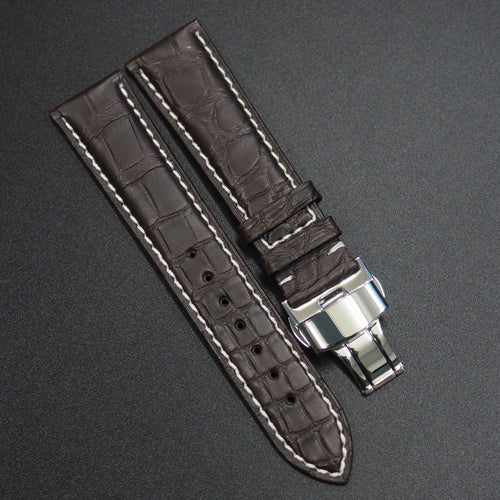 Premium Dark Brown Alligator Leather Watch Strap w/ Butterfly Deployment Buckle Clasp - Strapconcept_錶帶工房, Rolex_Leather, IWC_Strap, Panerai_Strap, AP_Rubber, Cartier_Leather, Tudor_Nato, Omega_Rubber, Watch_Straps