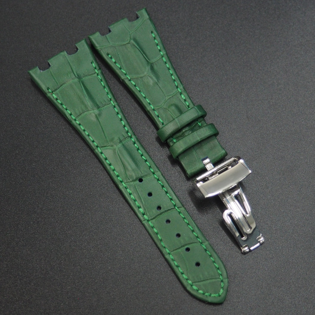 Green Alligator-Embossed Calf Leather Watch Strap w/ Deployment Clasp For Audemars Piguet Royal Oak Offshore - Strapholic_錶帶工房, Rolex, IWC, Panerai, AP, Cartier, Tudor, Omega, Watch_Bands